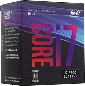 CPU Intel Core i7-8700 BOX 3.2 GHz/6core/SVGA UHD Graphics 630/1.5+12Mb/65W/8 GT/s LGA1151